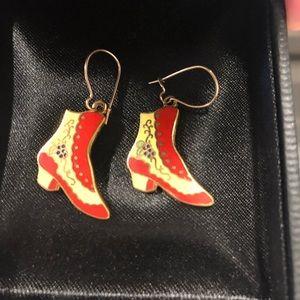 Vintage Cloisonné Victorian Boot Shoe Earrings